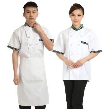 Áo Đầu Bếp Đẹp Tay Ngắn Cách Điệu Viền Cổ Caro.