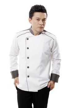 Áo Đầu Bếp Nam Dài Tay Dáng Đẹp Lệch Khuy.