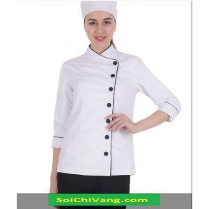 Áo Bếp Nữ Màu Trắng Khuy Cài Lệch Thanh Lịch - MADB0017